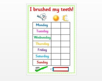 Brushing Teeth Reward Chart  - Reusable, Laminated 160 gsm card, reminder,  reward chart, pre-school, toddler, EYFS, SEN, Autism, ASD