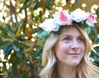 "The ""Carmina"" floral halo crown // flower crown, garden wedding,  flower headband, floral headpiece, floral halo, head wreath, pink roses"