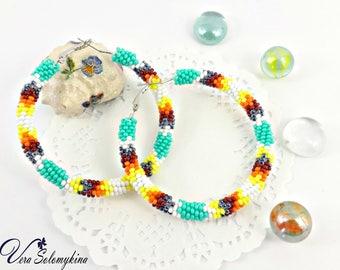Beaded hoop earrings, Bead embroidered earrings, Native stale, Beadwork jewelry, Bridesmaid gift, Colorful beaded fashion earrings, Big hoop