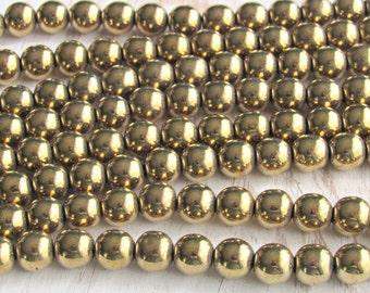 8mm gold Hematite, magnetic hematite, full strand, gold plated, 8mm round beads, jewelry supplies, mala beads, Jewelry supplies, beading