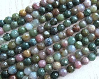 6mm faceted Fancy Jasper, full strand, AA quality, indian Jasper beads, multicolor Jasper, 6mm Jasper beads, multicolor jasper, supply beads