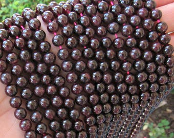 6mm garnet beads, full strand, A quality, genuine garnet, red garnet, 6mm garnet gemstone, deep red garnet, dark garnet, beads for malas