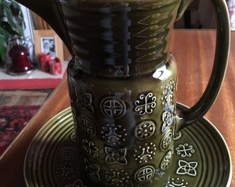 Lord Nelson pottery jug and plate in green