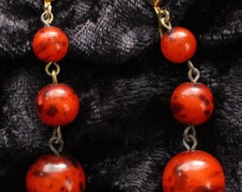 COE # 106 Vintage Gold Tone Carnelian Bead Drop Earrings