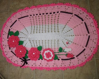 Oval Rug , crochet oval rug  with flowers, bathroom rug, home decor rug,gift rug, Ready to Ship!