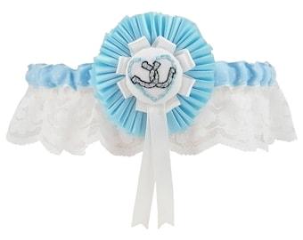 Wedding Garter, garter, rosette garter, blue rosette garter, horseshoe garter, something blue