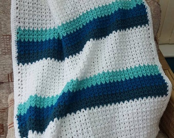 Handmade crocheted baby blanket, afghan. Blue white teal. 32 inches by 30 inches. Baby shower.