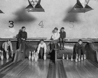 Boys Setting Bowling Pins Photograph, Black and White Photography, Wall Art, Industrial Chic, Duck Pin, Bowling, Bowling Alley, Bowling Gift