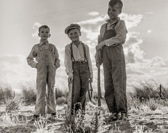 Children of the Dust Bowl Photo, 1938, Migrant Workers, Refugees Bakersfield CA, Wall Decor, Home Decor, Art Print, black white print