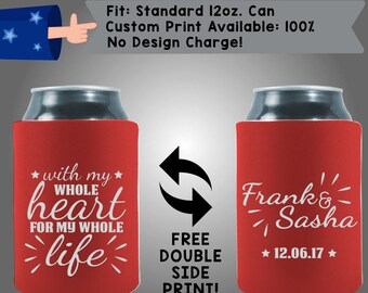 With My Whole Heart For My Whole Life Names Date Collapsible Fabric Wedding Can Coolers, Cheap Can Coolers Wedding Favors (W229)