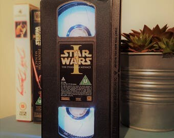 Retro VHS Star Wars Original Night Light Table Lamp. Order any film, movie, or actor! Great personal gift. Office. Movie memorabilia!