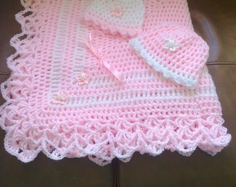 Hand crochet baby shawl sets made in all colours to order