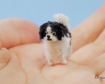 Tiny Japanese Chin Puppy Crochet - Miniature Crochet Japanese Chin -  Micro Amigurumi Animals - Made to Order