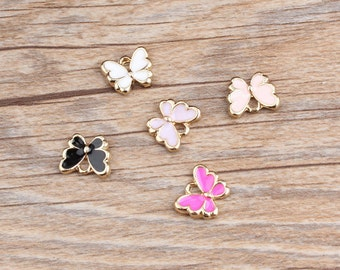 Butterfly Charms, 10PCS, 10*12mm, Enamel Charms, Bracelet Charms ,Jewelry Supplies, Black, White, Pink, Rose, Light Purple