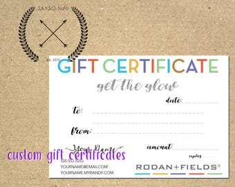 rodan + fields - custom gift certificate - dollar value - business material - download - printable - get the glow - r+f - gifts 4 x 6 inch