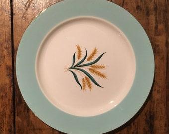 Vintage Homer Laughlin blue rimmed wheat plates/Viking vintage plates/1950's Home Laughlin wheat pattern/Homer Laughlin plates/Viking dishes
