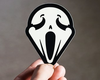 I WOKE UP Like this!, Ghostface Stickers Scary Macbook Decal, Sticker for iPhone, Scream face, iPhone stickers, sticker for laptop, Munch