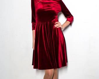Marsala Velvet Dress