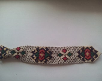 tie handmade vintage embroidery, embroided tie, necktie, embroidery