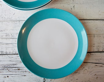 Set of 3 White Ceramic Plates with Teal Rim-Food Photography Props