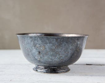 Vintage metal serving, display bowl-Food Photography Prop