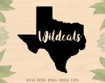 Texas SVG Texas Wildcats svg Silhouette Texas state svg Texas eps Dxf Cut File Clip Art Silhouette Studio Cricut Downloads Cricut files