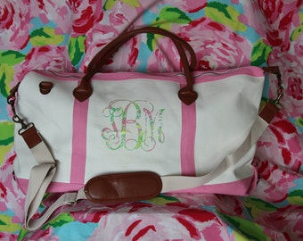Lilly Pulitzer Inspired Monogrammed Weekend Tote Bag