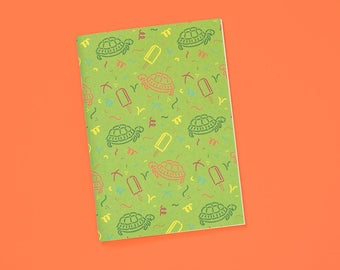 A6 note book blank with sweet turtle pattern