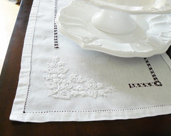 Vintage Linen Table Runner White Handmade Heirloom Quality Linens
