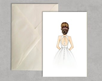 bridal updo - fashion illustration, greeting card, fashion card,