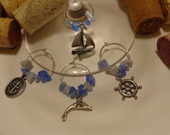 Life at Sea Wine Charms