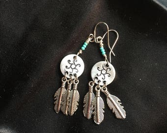 Trio Feather stamped earrings