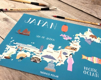 Map of Japan - illustrated map of Japan