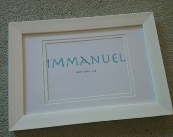 framed watercolour 'Immanuel - God with us'