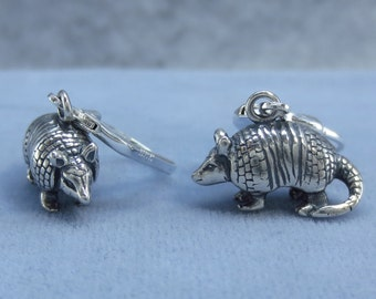 3D Armadillo Leverback Earrings Sterling Silver 7.5g  211483