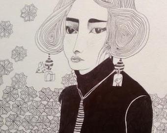 Lisbeth portrait woman, ballpoint pen, poster A3, graphics, patterns