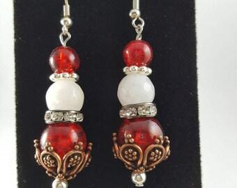 Crimson and White Bronze Dangle Drop Classic Earrings Set