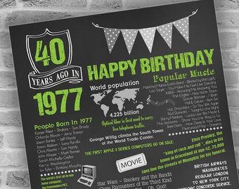 40th Birthday Gift for Men 1977 Birthday Gift, Chalkboard Poster, 40th Birthday Gift, 40th Birthday Poster, Printable DIGITAL FILE Only, JPG