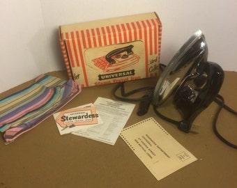 Vintage Working Universal Stewardess Travel Steam Iron Model 1675 With Original Box and Paperwork