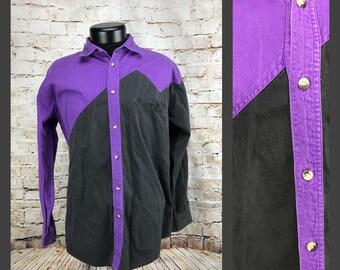 Men's Vintage Colorblock Shirt - Dope Vintage Western Shirt Medium Large Unique 80's 90's Gordon & James Purple Black Buttondown Westernwear