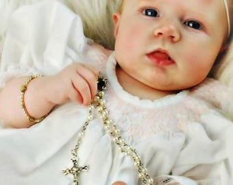 Free shipping,white Japan pearl,Baptism favors girls and boys gift,First Communion gift,wedding rosary necklace gift,Rosary necklace