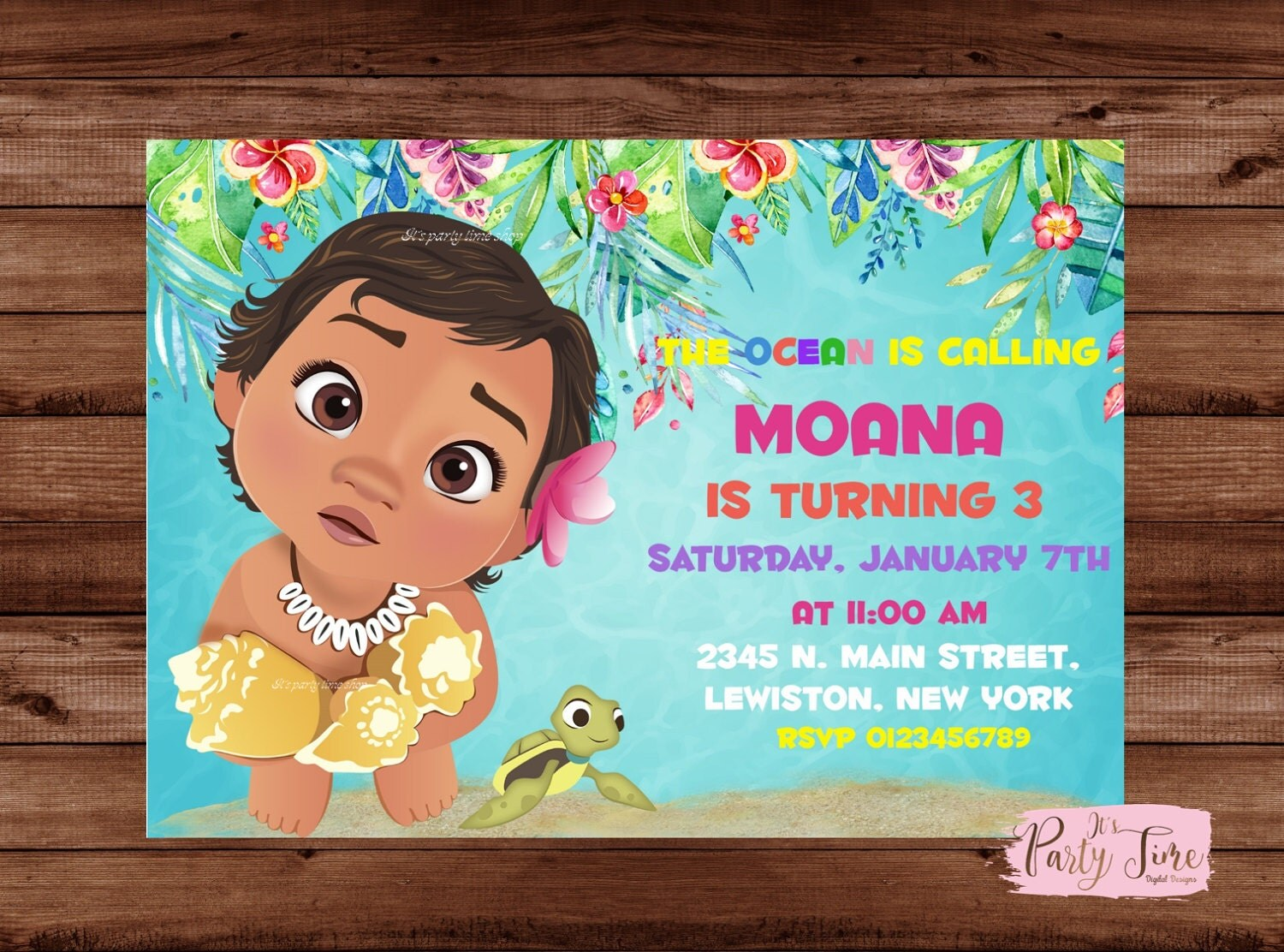 Moana Invitation Birthday Party