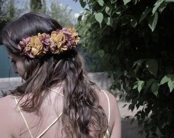 Preserved hydrangeas headband pink and mustard | Floral headband rose and mustard