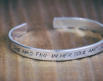 She Has Fire In Her Soul And Grace In Her Heart / Inspirational Jewelry / Inspirational Bracelet / Quote Jewelry / Gifts For Her