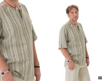 Boyfriend Shirt- Gift for Boyfriend- Linen Shirt Men- Bohemian Clothes for Men- Khaky Linen Clothing for Men- Gift for Husband, Dad
