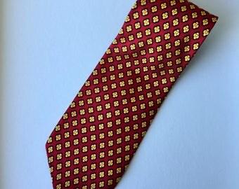 Retro Red and Yellow Floral Rochel Silk Mens Necktie 80s 60s Vintage