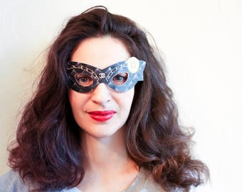 Classic Chanel inspired paper mask. Chanel party favors. Masquerade masks women. Paper mask. Party mask. Masquerade ball mask. Party favors.