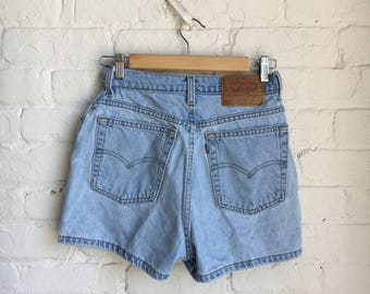 Vintage Levi's 512 Light Blue Denim High Waisted Jean Shorts / 25 Waist / 90s 1990s / Made in USA / Red Tab / Women's / Slim Fit