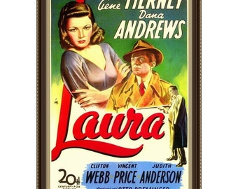 LAURA - 1944, Gene Tierney, Dana Andrews, Clifton Webb, Movie Poster Paintings, Oil On Canvas, 27 x 41 in