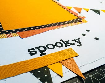 12x12 Halloween Scrapbook Page, Pre-Made